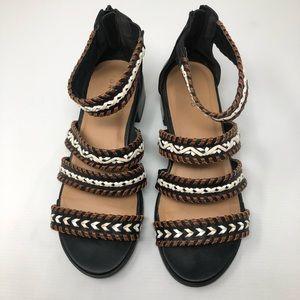 Torrid Braided brown black white sandals size 9W